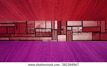 Red and purple wooden background or wide backdrop, panorama in diminishing perspective, with copy / text / product space for your design. - stock photo