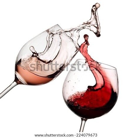 Red and rose wine up - stock photo