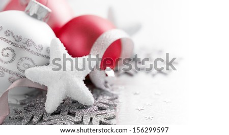 Red and silver christmas decoration with copy space - stock photo