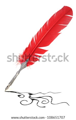 Red and silver quill drawing - stock photo