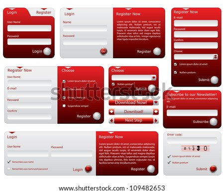 Red and silver web forms design - stock photo