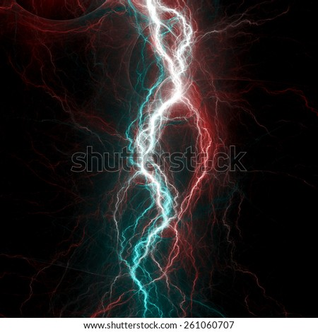 Red and teal lightning, abstract electrical background - stock photo