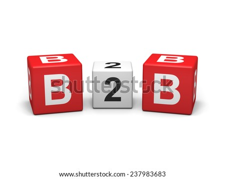 Red and white b2b cubes on white background - stock photo