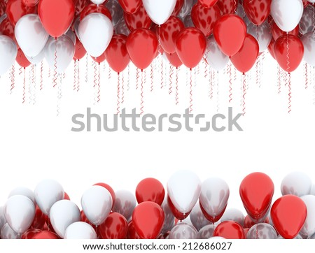 Red and white balloons in a row isolated on white background  - stock photo