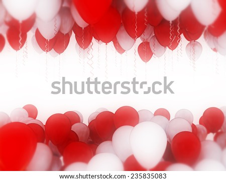 Red and white balloons in bright light isolated on white background  - stock photo