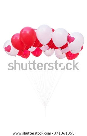 Red and white balloons isolated on white background with clipping path - stock photo