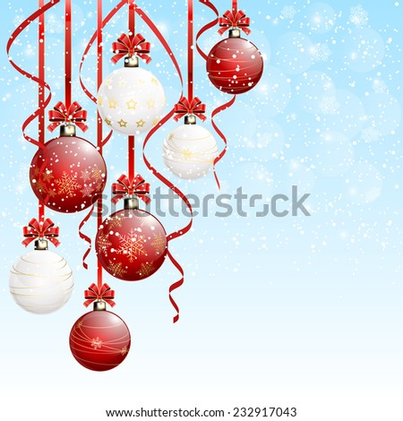 Red and white Christmas balls with tinsel on snowy background, illustration. - stock photo