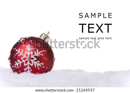 red and white christmas ornament background (selective focus) - stock photo
