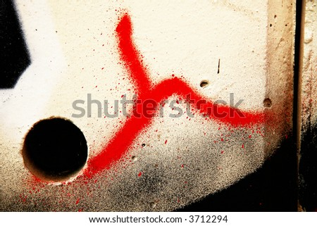 Red and white fine graffiti - stock photo