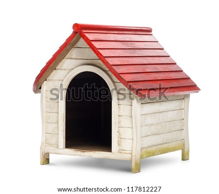 Red and white kennel against white background - stock photo