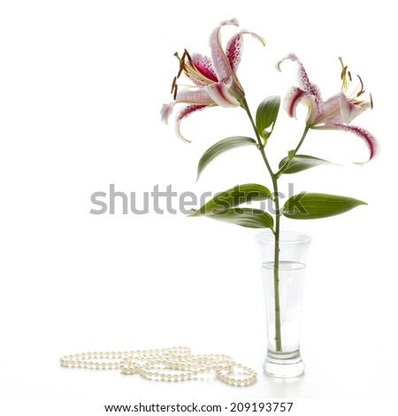 Red and white lily and pearl necklace on a white table. - stock photo