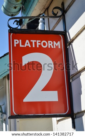 Red and white platform two sign - stock photo