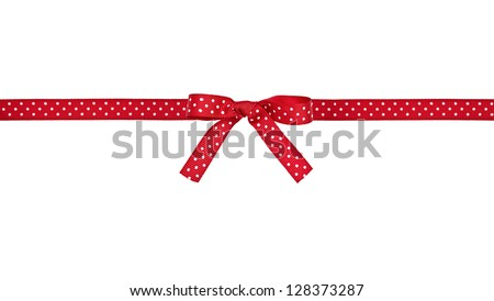 Red and white polka dot ribbon and bow, isolated over white background - stock photo