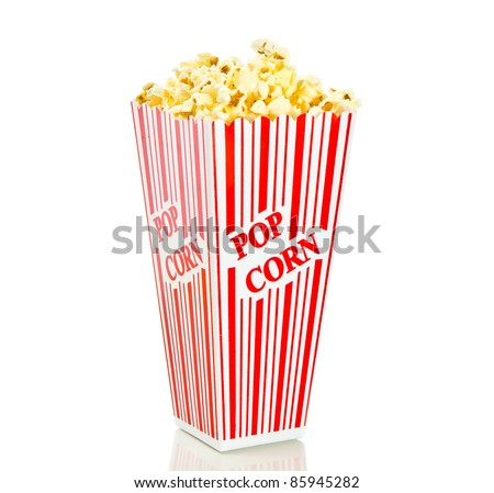 Red and white popcorn box isolated against white background - stock photo