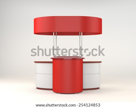 red and white portable booth or kiosk from front view - stock photo