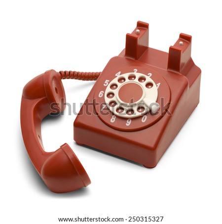 Red and White Rotary Phone Off the Hook Isolated on White Background. - stock photo