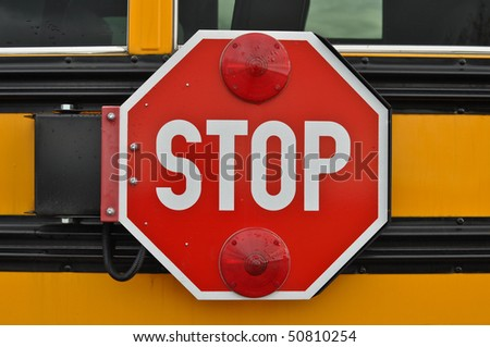 Red and White School Bus Stop Sign which could be used as stop drugs violence or Bullies - stock photo