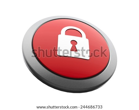 Red and white security emblem isolated on white background, three-dimensional rendering - stock photo