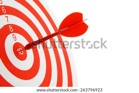 Red and white shooting target and arrow isolated on white - stock photo