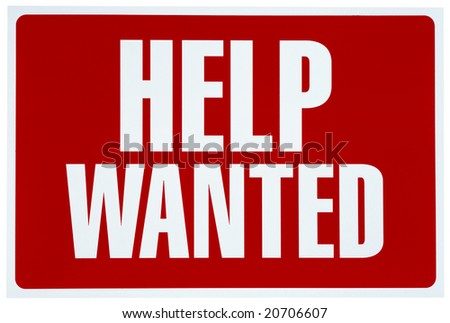 Red and white sign asking for help - stock photo