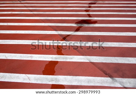 Red and white sign on the street  - stock photo