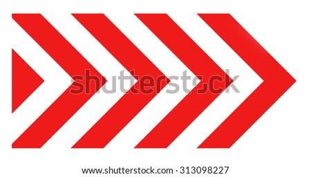 Red and white striped arrow road sign isolated on white - stock photo
