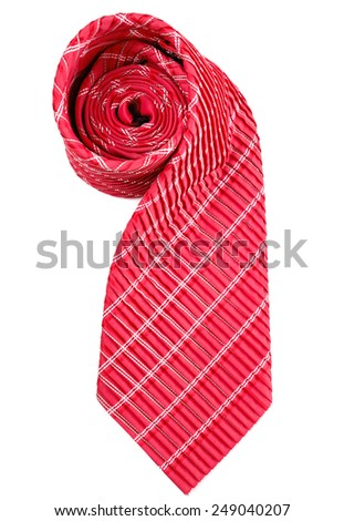 Red and white striped tie isolated on white background - stock photo