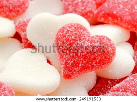 Red and white sugared candy hearts for Valentine's Day - stock photo
