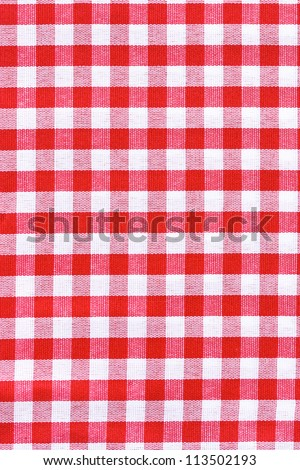 Red and white tablecloth.  Provence style. - stock photo