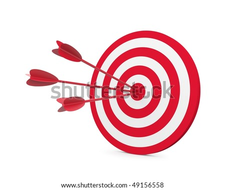Red and White target with three arrow - stock photo