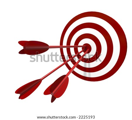 Red and White target with three arrow - isolated on white - stock photo