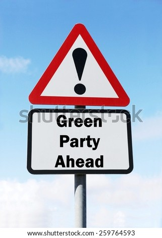 Red and white triangular road sign with a Green Party ahead concept against a partly cloudy sky background - stock photo