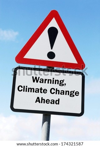 Red and white triangular warning road sign with a climate change concept against a partly cloudy sky background  - stock photo
