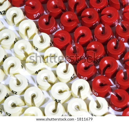 Red and white washers - stock photo