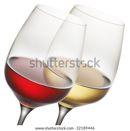 red and white wine - stock photo
