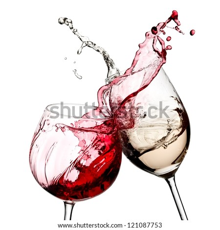 Red and white wine splash diagonal - stock photo