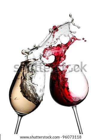 Red and white wine splash from two wineglasses - stock photo