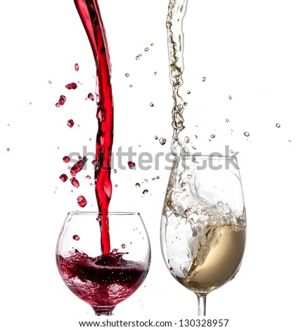 Red and white wine splash isolated - stock photo