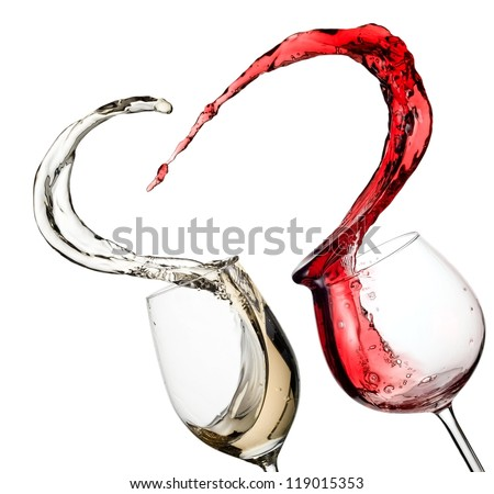 Red and white wine up in heart - stock photo