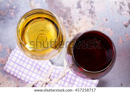 Red and white wine. View from above, top studio shot - stock photo