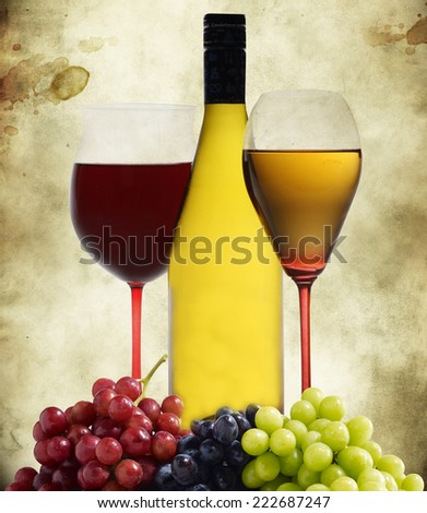 Red and white wine with grapes. - stock photo