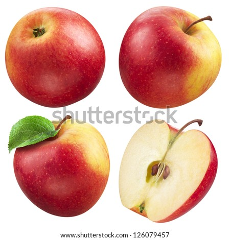 Red and yellow apple collection. set of fruit and leaf isolated on white - stock photo