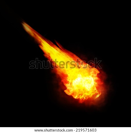 red and yellow ball of fire (fireball)  isolated on black background - stock photo