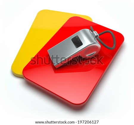 Red and yellow card with whistle - stock photo