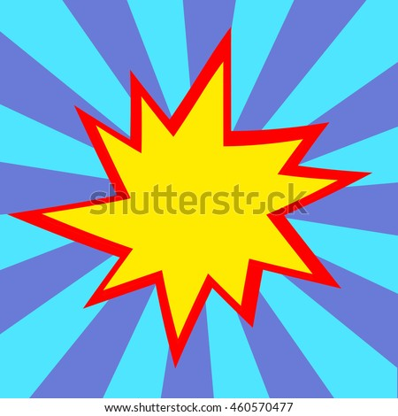 Red and yellow comic cartoon speech bubble illustration. Blue purple background - stock photo