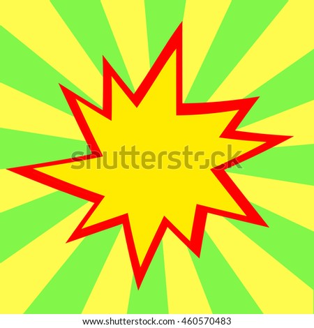 Red and yellow comic cartoon speech bubble illustration. Green yellow background - stock photo