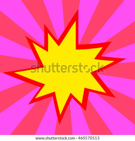 Red and yellow comic cartoon speech bubble illustration. Red pink background - stock photo