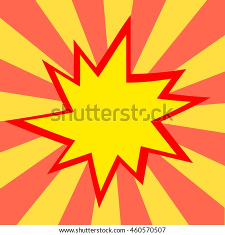 Red and yellow comic cartoon speech bubble illustration. Yellow red background - stock photo