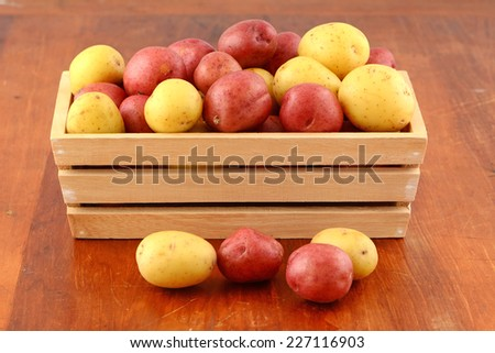 Red and yellow new potatoes in wooden box in horizontal format - stock photo