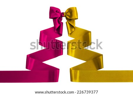 Red and Yellow satin ribbon with bow shaped as a Christmas tree, isolated on white background - stock photo